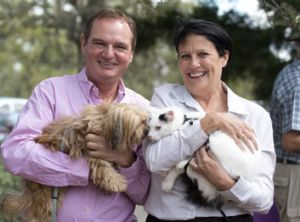 Ipswich Mayor Paul Pisasale poses with AWL Chief Executive Denise Bradley after a rally to save the Animal Welfare ...