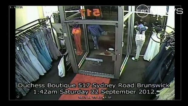 CCTV footage alledgedly showing murder suspect Adrian Bayley walking past a store in Sydney Road, Brunswick.