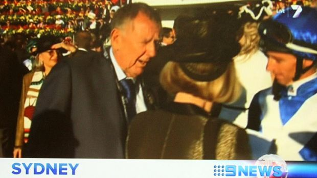 Lack of joy ... John Singleton and Gai Waterhouse clash in the mounting yard.