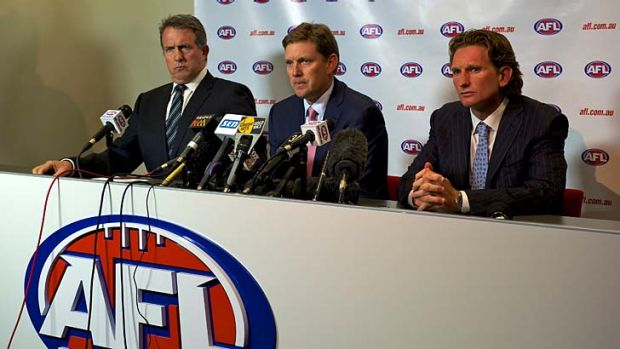 Questions: Essendon CEO Ian Robson, president David Evans and coach James Hird answer questions over alleged illegal ...