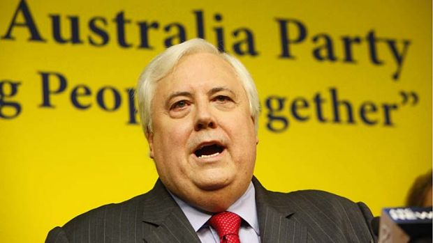 Chasing votes: Clive Palmer giving voice to the plans of the Uniting Australia Party.
