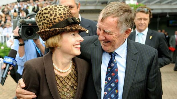 Best friends forever: Gai Waterhouse and John Singleton after the Golden Slipper in 2008.