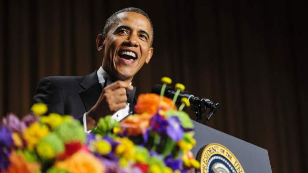 Playing for laughs: President Barack Obama tells jokes poking fun at himself as well as others during the White House ...