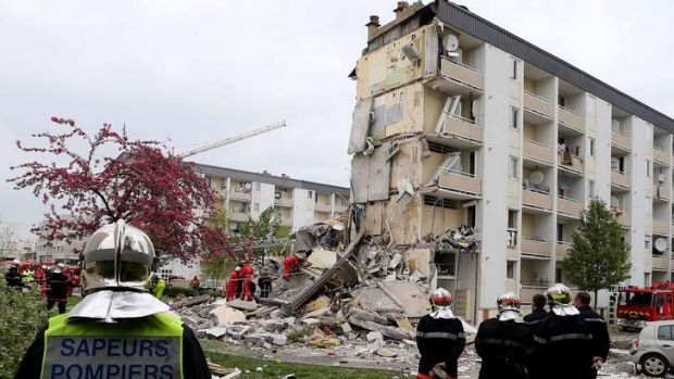 The apartment block in Reims after the explosion.