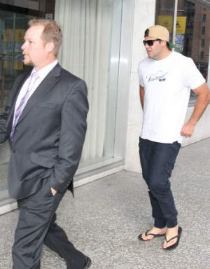 Wading in: Cronulla Sharks player Wade Graham arrives at the meeting.