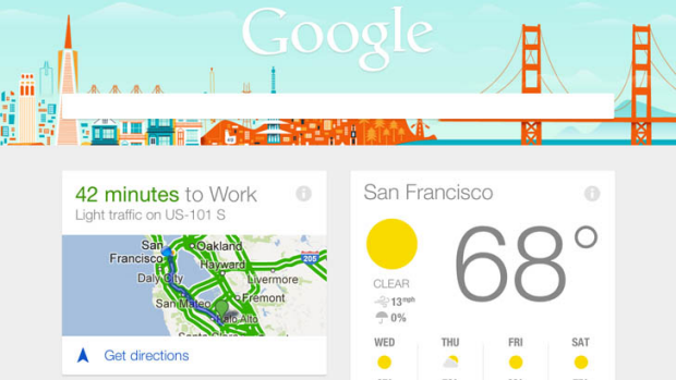 Google Now as it will appear on the iPad.