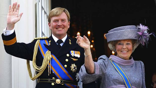 Abdication: Netherlands' Queen Beatrix (right) and her son Crown Prince Willem-Alexander.
