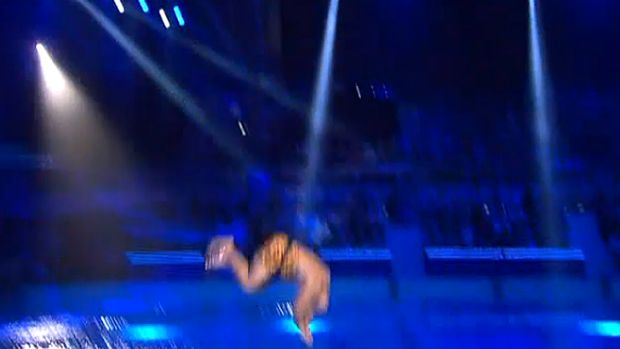 Ouch ... Derek Boyer belly flop on <i>Celebrity Splash!</i>.