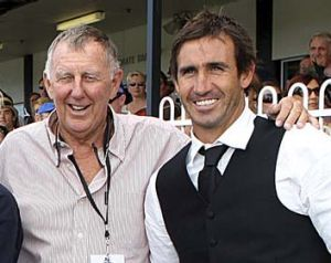 Good friends: John Singleton and Andrew Johns.