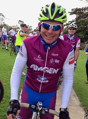No spin: Tony Abbott during a charity bike ride.