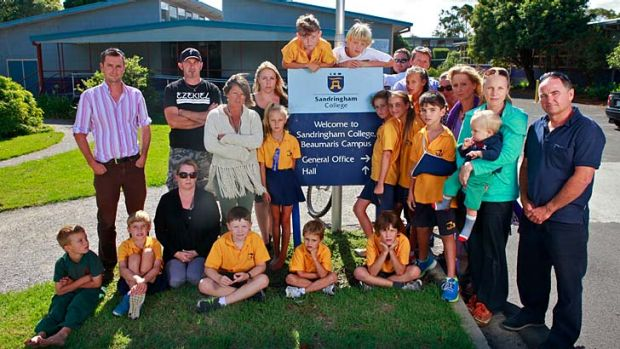 Students and parents at Sandringham College's Beaumaris campus who are fighting for the new school.