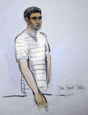 This courtroom sketch shows Robel Phillipos appearing in a Boston court.