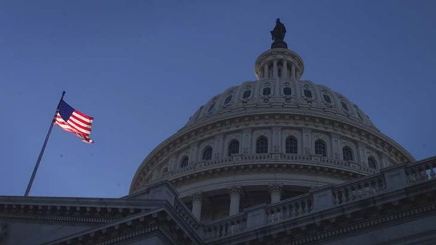 Truth and justice: An American flag flies on Capitol Hill.