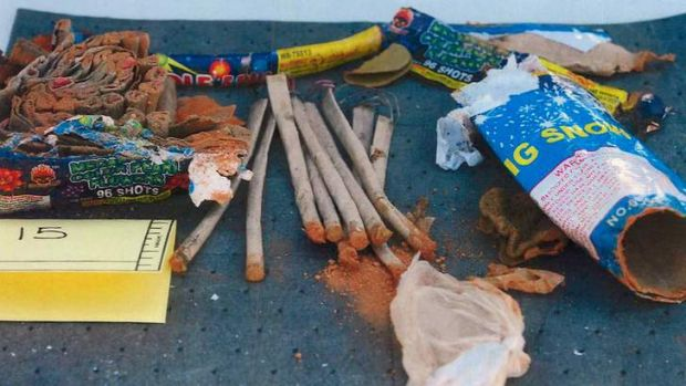 "Friends ""knew"" Tsarnaev was involved: Fireworks from Dzhokhar Tsarnaev's backpack. Photo: Reuters"
