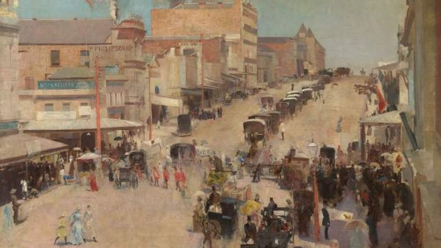 <i>Bourke Street west</i>  by Tom Roberts will be part of the Royal Academy exhibition <i>Australia</i>.