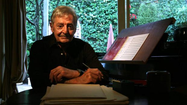 Australian composer Peter Sculthorpe in his Sydney home.