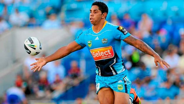 Screamer: Kelly celebrates a try against the Broncos in front of the Titans faithful at Skilled Park earlier this year.