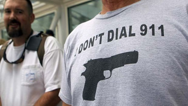 Attendees at the three-day annual convention of the National Rifle Association.