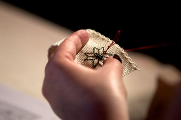 Visitors had a lesson in blackwork embroidery which became popular in the 1500s.