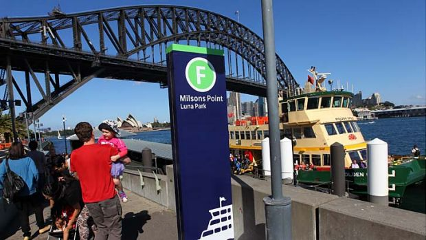 F for ferry: New signs guide travellers at Milsons Point wharf.