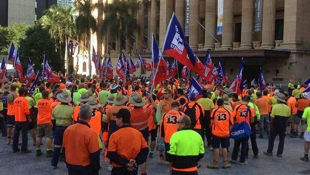 Builders Labourers Federation Queensland members gather at King George Square.