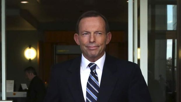 Canberra:??Opposition Leader Tony Abbott arrives to speak to the media at a morning doorstop at Parliament House today, ...