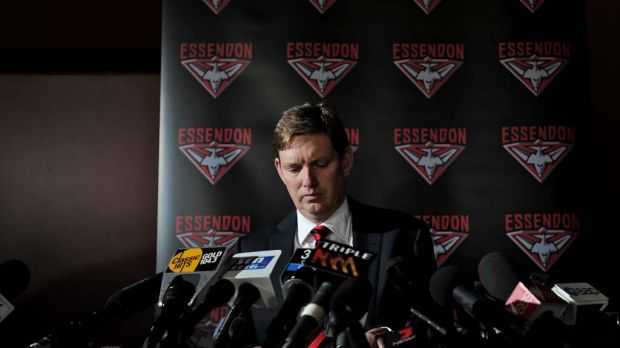 Essendon chairman David Evans prepares to discuss the findings of Dr. Ziggy Switkowski's independent review into the ...