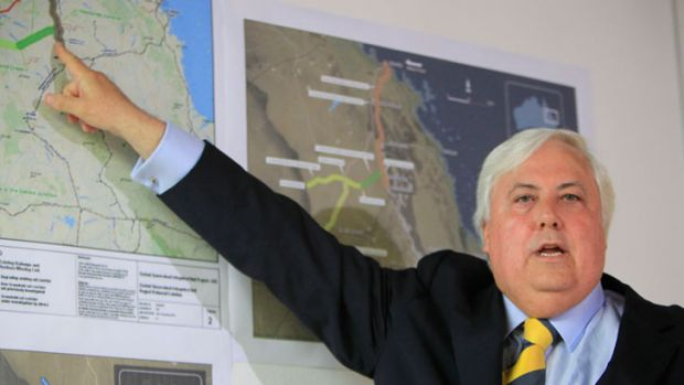 Mining magnate Clive Palmer at a press conference about a proposed development in Queensland's Gallilee Basin.