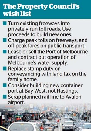 Wish list includes new tolls and leasing out roads.