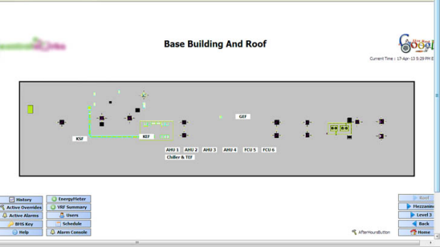 The building control panel showing the roof blueprint.