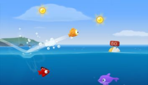 Skipping fish along the surface is the primary game mechanic.