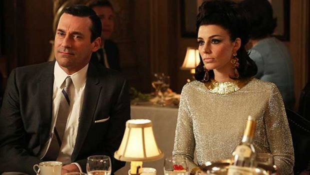 Don and Megan prepare to walk out on dinner ... <i>Mad Men</i>