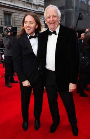 Tim Rice (right) at the Olivier Awards in 2012 with Tim Minchin.