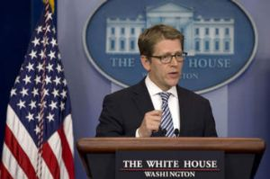 Optimistic: White House press secretary Jay Carney said background checks are what the people want.