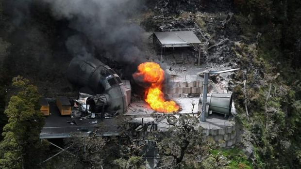 Safety checks ignored: Flames burn out of control from a ventilation shaft at the Pike River Mine on November 30, 2010.