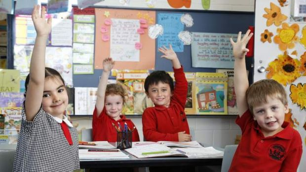 Mount Rogers Primary School kindergarten students, from left, Afryna Yarbakhsh, Ava Bessey, Liam Hamilton and Gus ...
