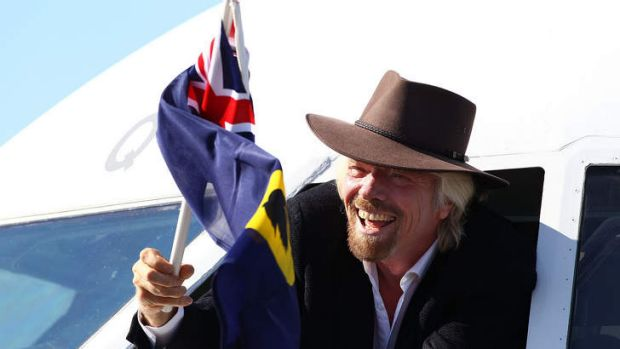 Richard Branson at the launch of Virgin's regional airline in Perth on Tuesday.