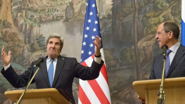 Where to from here? US Secretary of State John Kerry, left, with Russian Foreign Minister Sergei Lavrov at their joint ...