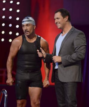 Drowning: Contestant Paul Fenech and host Larry Edmur on <i>Celebrity Splash!</i>