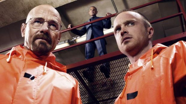 Chemistry: Walt (Bryan Cranston) and Jesse (Aaron Paul) watched by drug boss Gus (Giancarlo Esposito) in <i>Breaking Bad</i>