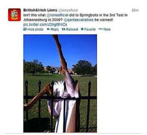 """The deleted post read: """"Isn't this what @lionsofficial did to Springboks in the 3rd Test in Johannesburg 2009? ..."""