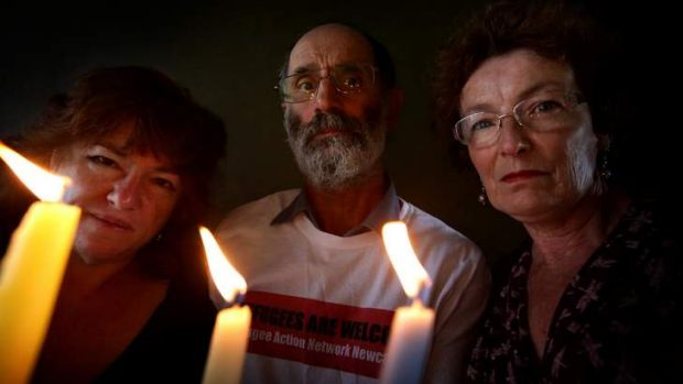 Members of Refugee Action Network Newcastle, who have organised a vigil for Tamil refugee Ranjini who has been in a ...