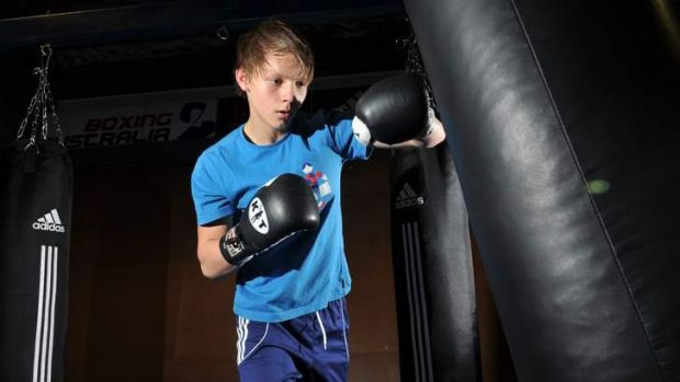 Nikita Tszyu, son of Kostya, trains at the AIS on Wednesday.