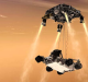 An artist's impression of the sky crane maneuver during the descent of NASA's Curiosity rover to Mars.