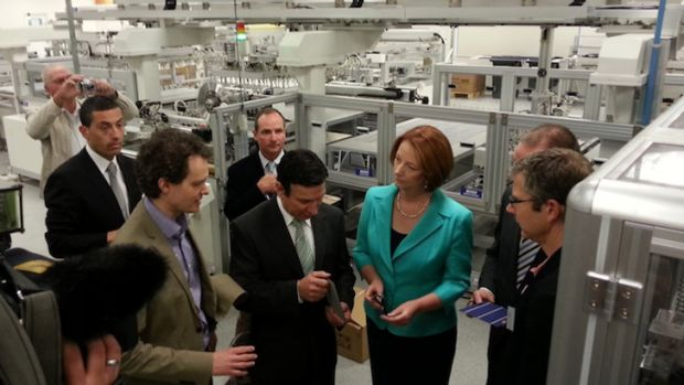 PM Julia Gillard during a visit to Tindo Solar last year.
