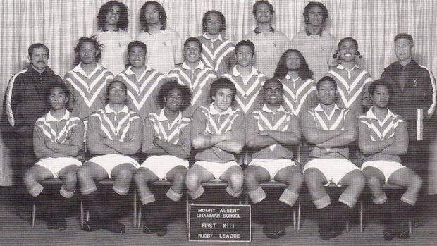 Once were teammates: Manly's Steve Matai (middle row, second from right) and Sydney Roosters Sonny Bill Williams (front ...