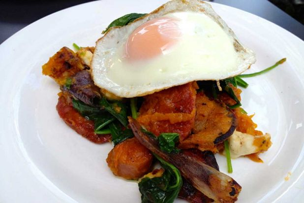 Bubble and Squeak with chorizo, bocconcini and fried egg ($12.50).
