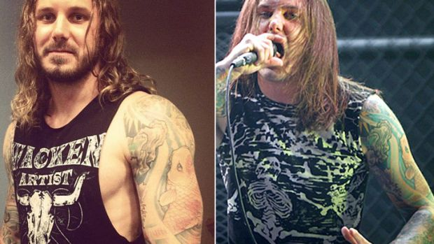Working out ... As I Lay Dying singer Tim Lambesis posted the left picture on his Facebook in May, 2012, while images of ...