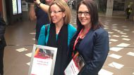 Kay Seymour and Jill Lyten who saved a man after he fell onto tracks in Brisbane