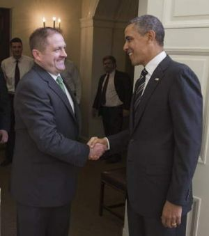Daniel Sweetapple, of Higgins, currently working with the ABC in Washington DC, meets US President Barack Obama upon ...